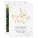 Gold & White | Modern Chic 30th Birthday Party Invitation