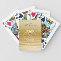 Golden Anniversary Dolphins and Heart Bicycle Playing Cards