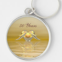 Golden Anniversary Dolphins and Heart Keychain