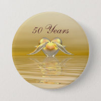 Golden Anniversary Dolphins and Heart Pinback Button