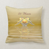 Golden Anniversary Dolphins and Heart Throw Pillow