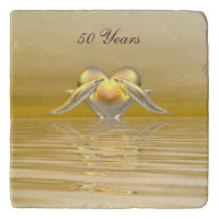 Golden Anniversary Dolphins and Heart Trivet