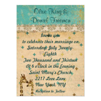 Golden Bronze Giraffes Retro Wedding Invitation