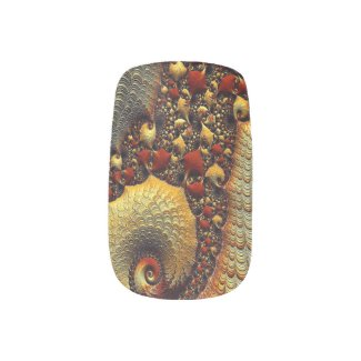 Golden Delight Fractal Art Minx Nail Wraps