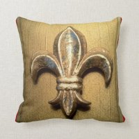 Golden Fleur-de-lis against Dark Red - Customized Pillows