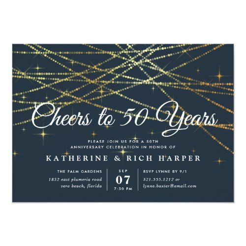 Golden Garland | Any Year Anniversary Party Invitation
