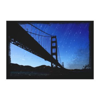 Golden Gate Bridge Photo Edit - Rainy Night Gallery Wrapped Canvas