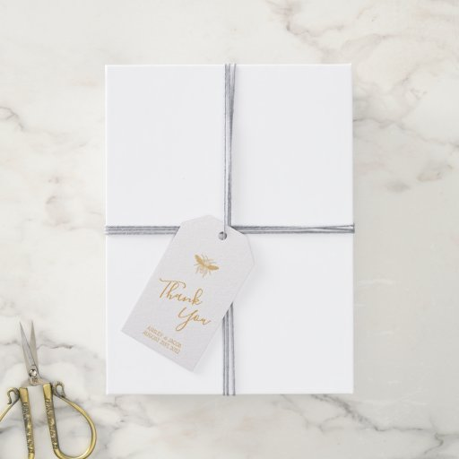 Golden Honeycomb Pattern Wedding Gift Tags