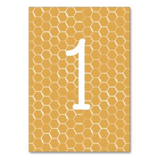 Golden Honeycomb Pattern Wedding Table Number