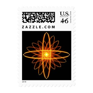 Golden mandala postage stamp