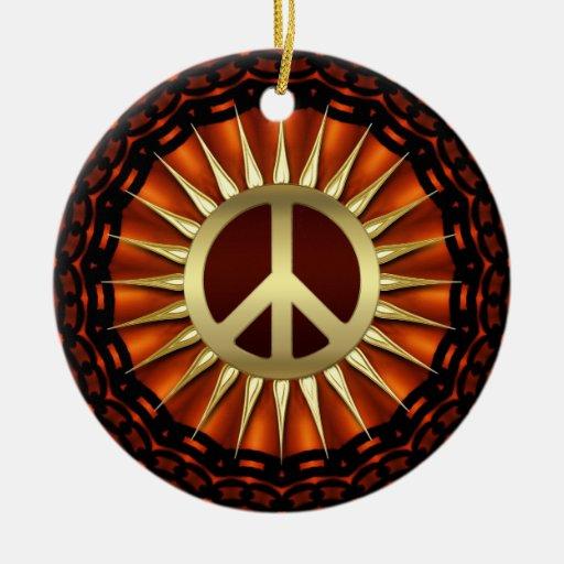 Golden Peace Sunshine Ceramic Ornament