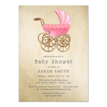 Golden Pink Pram Girl  Vintage Baby Shower Invite