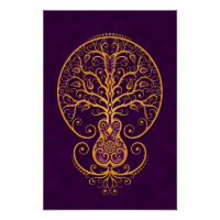 Golden Purple Guitar Tree of Life Poster