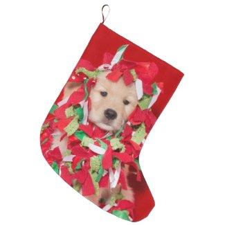Golden Retriever Christmas Puppy Large Christmas Stocking
