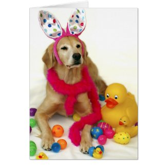 Golden Retriever Easter Bunny Greeting Card