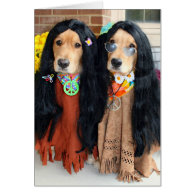 Golden Retriever Halloween Hippie Card
