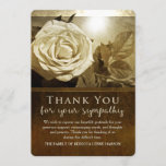 Pretty Golden Rose Funeral Sympathy Thank You Card