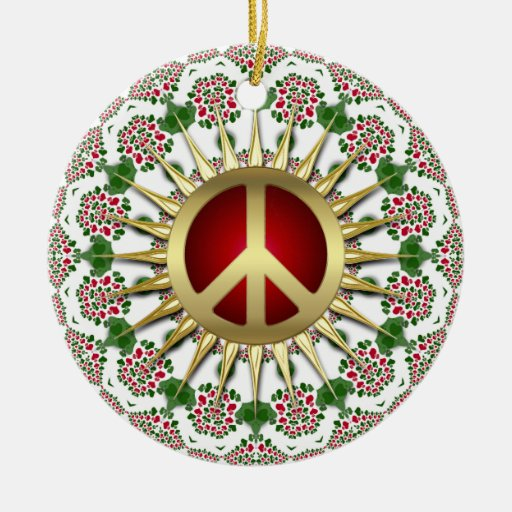 Golden Sun Peace Sign Holiday Ornament