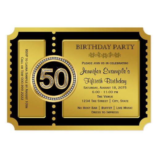Golden Ticket 50th Birthday Party Card Zazzle