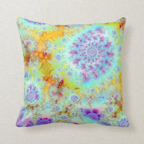 Golden Violet Sea Shells, Abstract Fractal Ocean Throw Pillow