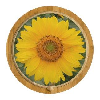 Golden Yellow Sunflower Round Cheese Board