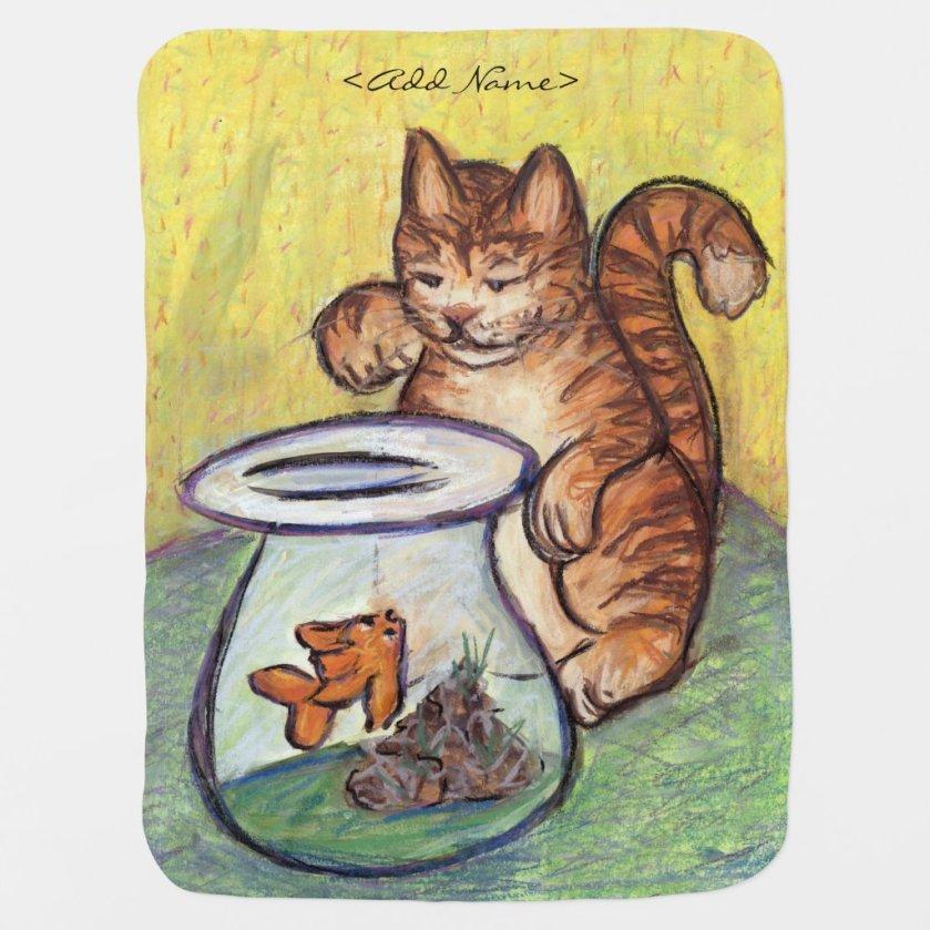 Goldfish & Orange Tabby Cat Custom Design Blankets