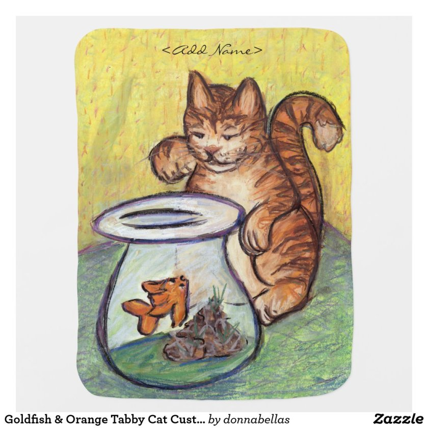Goldfish & Orange Tabby Cat Custom Design Blankets