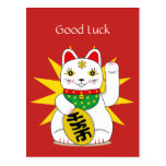 ❤️ Good Luck Good Fortune Traditional Lucky Cat Postcard