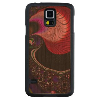 Gorgeous Fractal Carved Galaxy S5 Slim Wood Case Cherry Galaxy S5 Slim Case