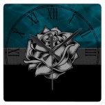 Gorgeous Grunge Rustic Rose Custom Gift Square Wallclock