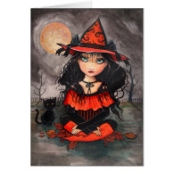 Gothic Halloween Card Witch Cat