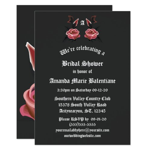 Gothic Rose Butterfly Bridal Shower Invite