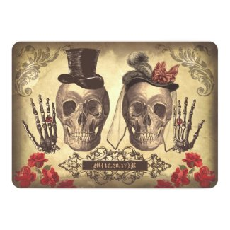 "Gothic Skull Couple Day of The Dead Wedding Invite 5"" X 7"" Invitation Card"