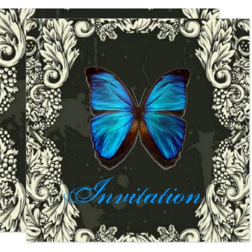 Gothic Swirls Blue Butterfly steampunk Wedding Invitation