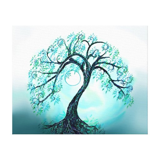Graceful Blue Tree of Life with Moon Canvas Print Zazzle