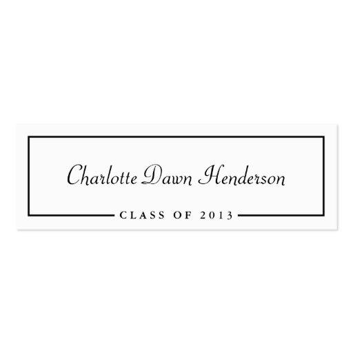 Graduation announcement name card border Class of Double