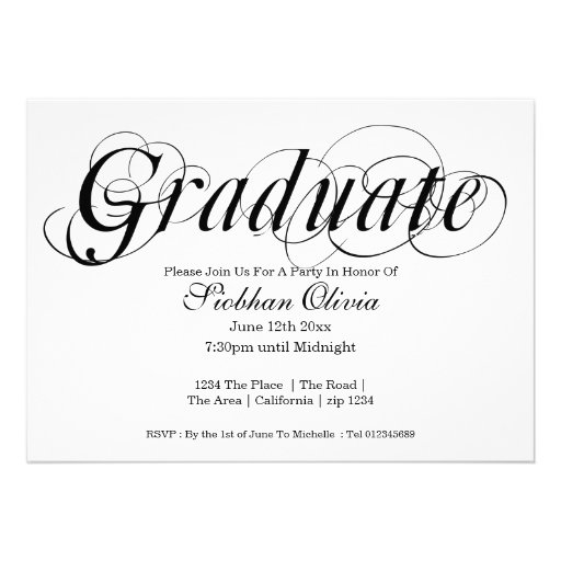 Graduation Party Fancy Text And Photo Template 5x7 Paper