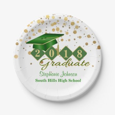 Graduation Party Green & Gold 20XX Paper Plate