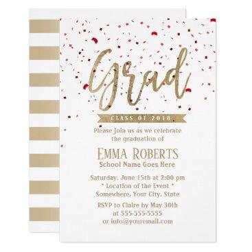 Graduation Party Modern Gold Script Red Confetti Card