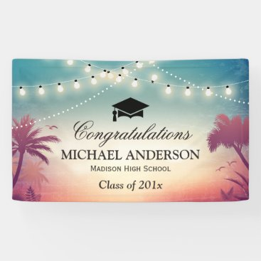 Graduation Party String Lights Summer Palm Trees Banner