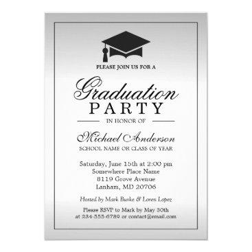 Graduation Party - Stylish Silver Metallic Look Invitation
