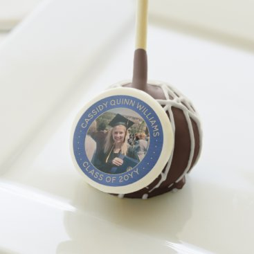 Graduation Photo Class Year Modern Blue and Gold Cake Pops