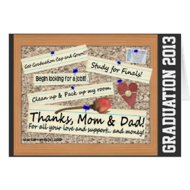 Graduation - Thanks, Mom & Dad (Personalize) Greeting Card