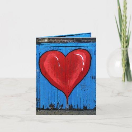 Graffiti Heart, blue wall, Valentine, small Card