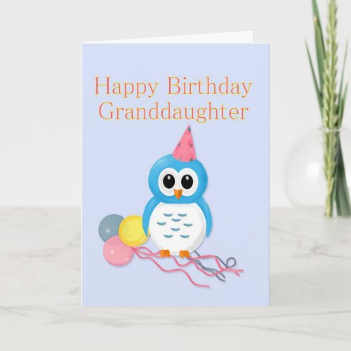 Granddaughter Birthday Cute Owl Card