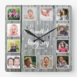 Grandkids Quote 12 Photo Collage Rustic Gray Wood Square Wall Clock