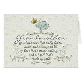 Grandmother Poem with Birds Card