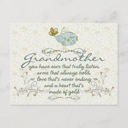 Grandmother Poem with Birds Postcard