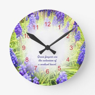spring flowers Grape Hyacinths Muscari Round Clocks