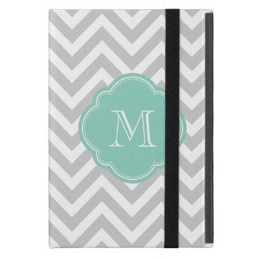 Gray and Aqua Chevron Custom Monogram Case For iPad Mini